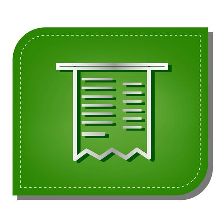 Paying bills concept. Silver gradient line icon with dark green shadow at ecological patched green leaf. 向量圖像
