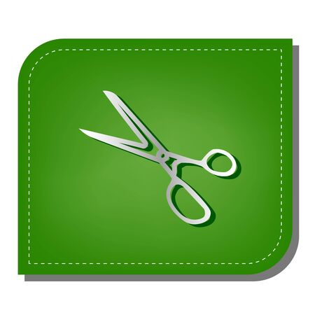 Scissors sign illustration. Silver gradient line icon with dark green shadow at ecological patched green leaf. 向量圖像