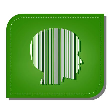 Face Barcode sign. Silver gradient line icon with dark green shadow at ecological patched green leaf.