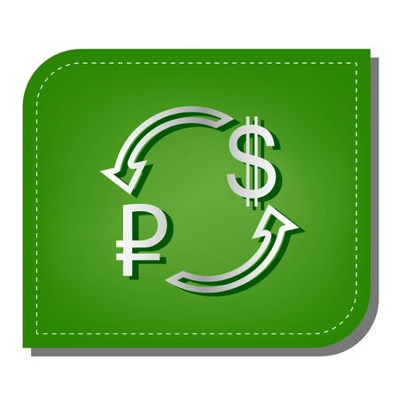 Currency exchange sign. Ruble and US Dollar. Silver gradient line icon with dark green shadow at ecological patched green leaf. Vector Illustratie