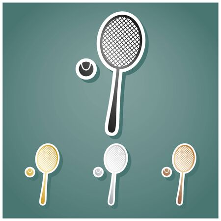 Tennis racquet with ball sign. Set of metallic Icons with gray, gold, silver and bronze gradient with white contour and shadow at viridan background.