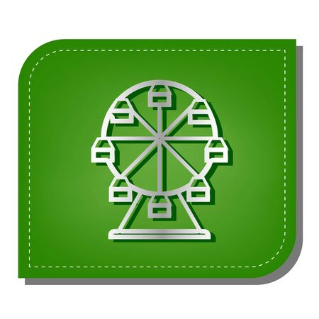 Ferris wheel sign. Silver gradient line icon with dark green shadow at ecological patched green leaf.