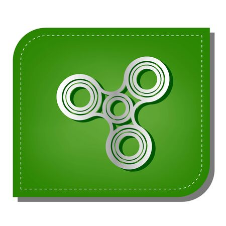 Fidget spinner sign. Silver gradient line icon with dark green shadow at ecological patched green leaf. Illustration