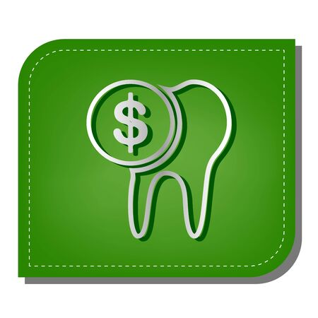 The cost of tooth treatment sign. Silver gradient line icon with dark green shadow at ecological patched green leaf.