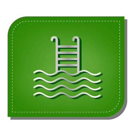 Swimming Pool sign. Silver gradient line icon with dark green shadow at ecological patched green leaf.