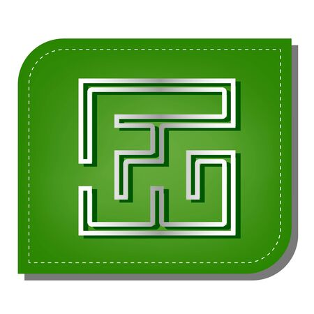 Labyrinth icon. illustration. Silver gradient line icon with dark green shadow at ecological patched green leaf.