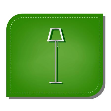 Floor lamp sign illustration. Silver gradient line icon with dark green shadow at ecological patched green leaf.