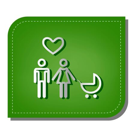 Family with heart. Husband, wife with baby. Silver gradient line icon with dark green shadow at ecological patched green leaf. Illustration