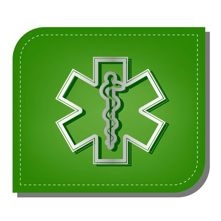 Medical symbol of the Emergency or Star of Life with border. Silver gradient line icon with dark green shadow at ecological patched green leaf.
