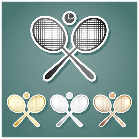 Two tennis racket with ball sign. Set of metallic Icons with gray, gold, silver and bronze gradient with white contour and shadow at viridan background.