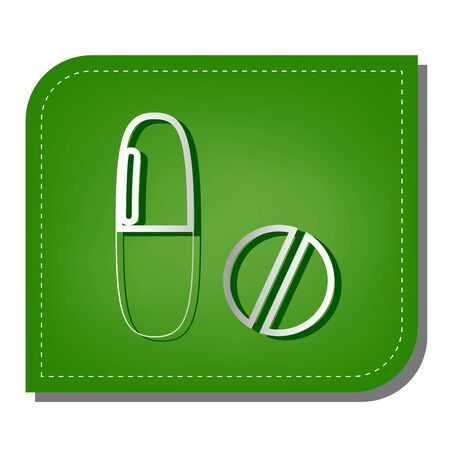 Medical pills sign. Silver gradient line icon with dark green shadow at ecological patched green leaf.