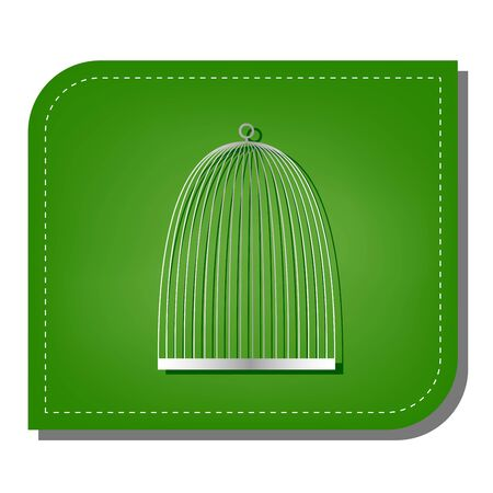 Bird cage sign. Silver gradient line icon with dark green shadow at ecological patched green leaf. Illustration
