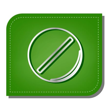 Pill sign illustration. Silver gradient line icon with dark green shadow at ecological patched green leaf.