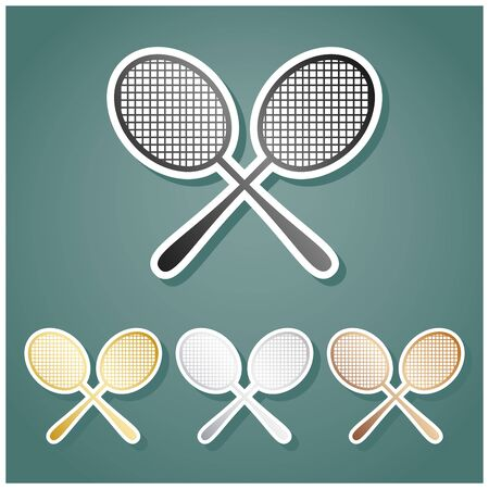 Two tennis racket sign. Set of metallic Icons with gray, gold, silver and bronze gradient with white contour and shadow at viridan background.