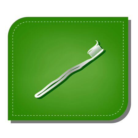 Toothbrush with applied toothpaste portion. Silver gradient line icon with dark green shadow at ecological patched green leaf.