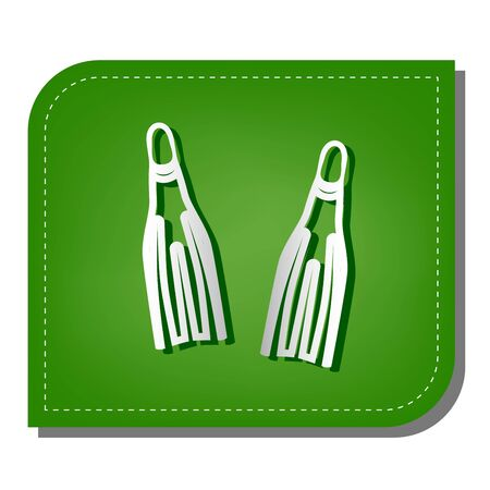 Diving flippers sign. Silver gradient line icon with dark green shadow at ecological patched green leaf.