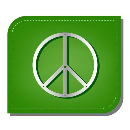 Peace sign illustration. Silver gradient line icon with dark green shadow at ecological patched green leaf.