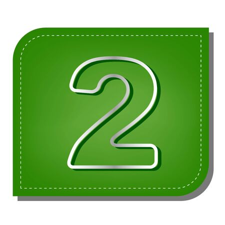 Number 2 sign design template elements. Silver gradient line icon with dark green shadow at ecological patched green leaf.