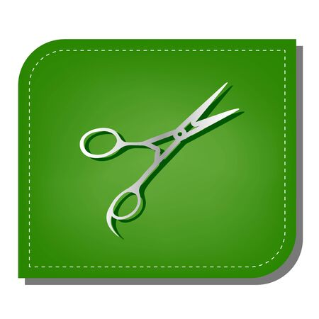 Hair cutting scissors sign. Silver gradient line icon with dark green shadow at ecological patched green leaf.