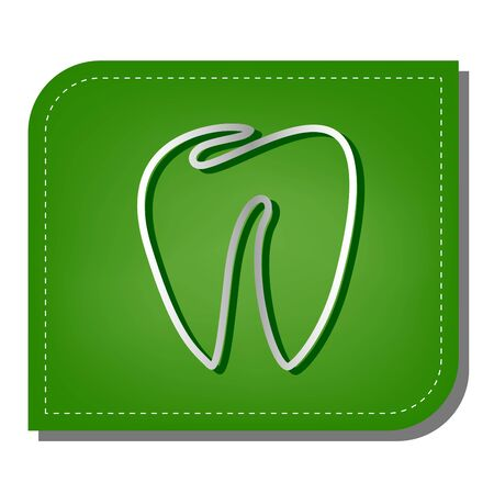 Tooth sign. Silver gradient line icon with dark green shadow at ecological patched green leaf.