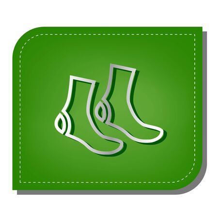 Socks sign. Silver gradient line icon with dark green shadow at ecological patched green leaf. Vettoriali