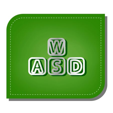 ABC cubes icons set. Silver gradient line icon with dark green shadow at ecological patched green leaf.
