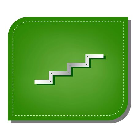 Stair up sign. Silver gradient line icon with dark green shadow at ecological patched green leaf.