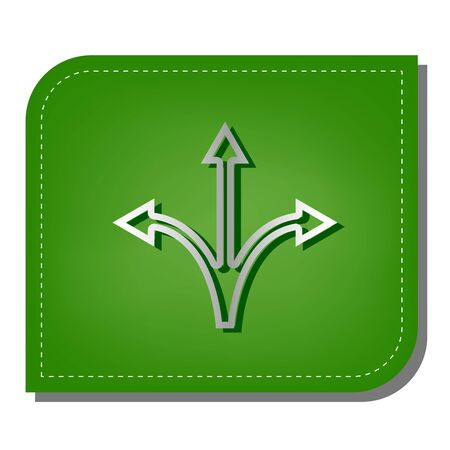 Three-way direction arrow sign. Silver gradient line icon with dark green shadow at ecological patched green leaf. Иллюстрация