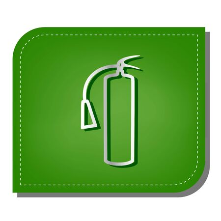 Fire extinguisher sign. Silver gradient line icon with dark green shadow at ecological patched green leaf.