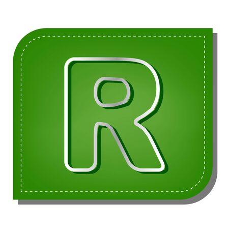 Letter R sign design template element. Silver gradient line icon with dark green shadow at ecological patched green leaf.