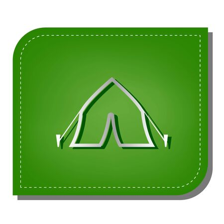 Tourist tent sign. Silver gradient line icon with dark green shadow at ecological patched green leaf.