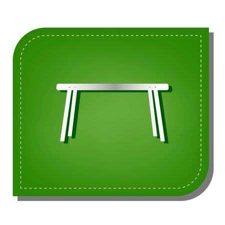 Table sign. Silver gradient line icon with dark green shadow at ecological patched green leaf.