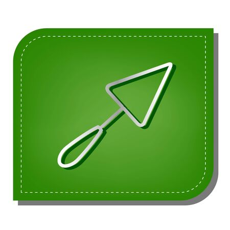 Trowel sign. Silver gradient line icon with dark green shadow at ecological patched green leaf. Ilustração