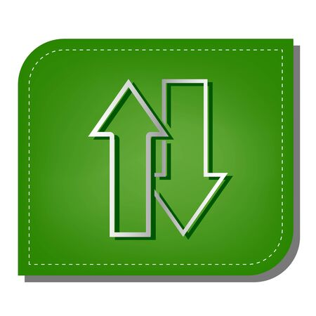 Arrows top down sign. Silver gradient line icon with dark green shadow at ecological patched green leaf.