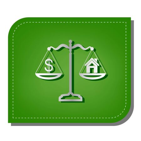 House and dollar symbol on scales. Silver gradient line icon with dark green shadow at ecological patched green leaf. 向量圖像