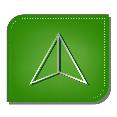 Flat coursor sign. Silver gradient line icon with dark green shadow at ecological patched green leaf.