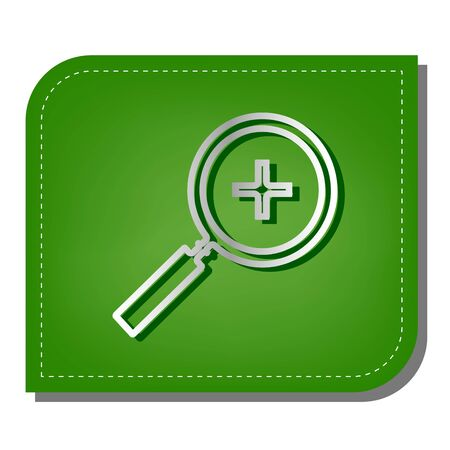 Zoom sign illustration. Silver gradient line icon with dark green shadow at ecological patched green leaf.