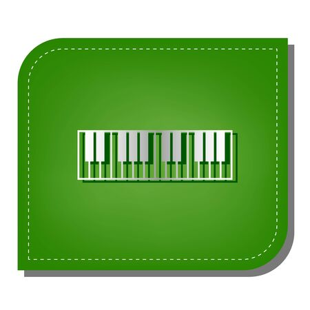 Piano Keyboard sign. Silver gradient line icon with dark green shadow at ecological patched green leaf.