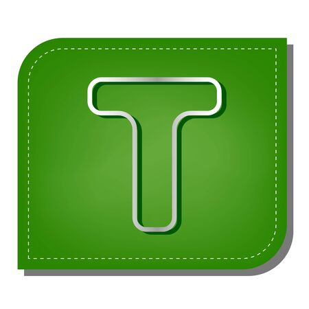 Letter T sign design template element. Silver gradient line icon with dark green shadow at ecological patched green leaf.