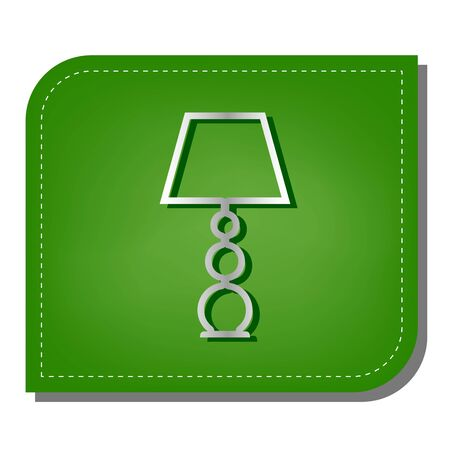 Lamp sign illustration. Silver gradient line icon with dark green shadow at ecological patched green leaf.