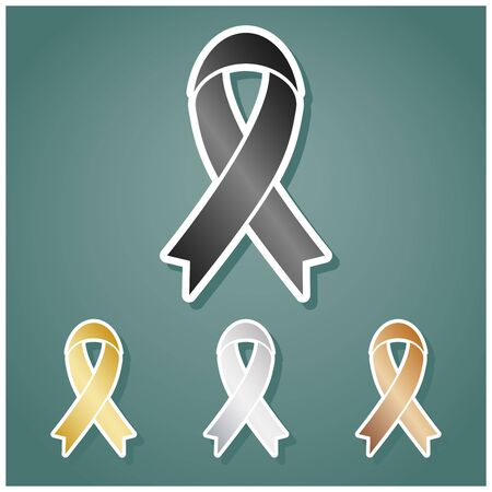 Black awareness ribbon sign. Set of metallic Icons with gray, gold, silver and bronze gradient with white contour and shadow at viridan background.