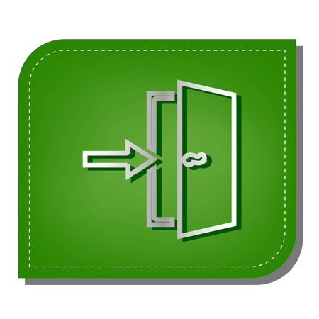 Door Exit sign. Silver gradient line icon with dark green shadow at ecological patched green leaf.
