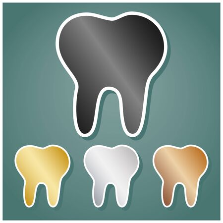 Tooth sign illustration. Set of metallic Icons with gray, gold, silver and bronze gradient with white contour and shadow at viridan background. Ilustração