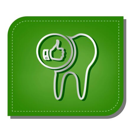 Tooth sign with thumbs up symbol. Silver gradient line icon with dark green shadow at ecological patched green leaf. Ilustração