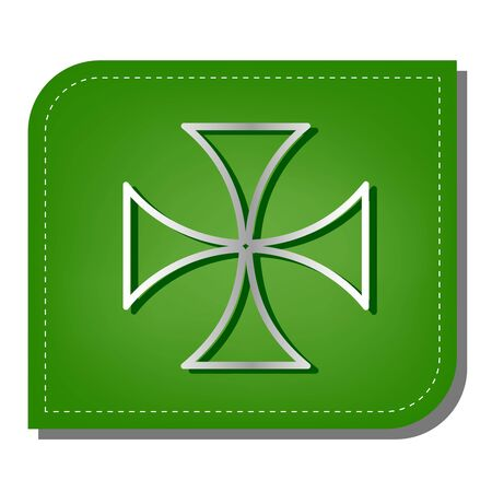 Maltese cross sign. Silver gradient line icon with dark green shadow at ecological patched green leaf.