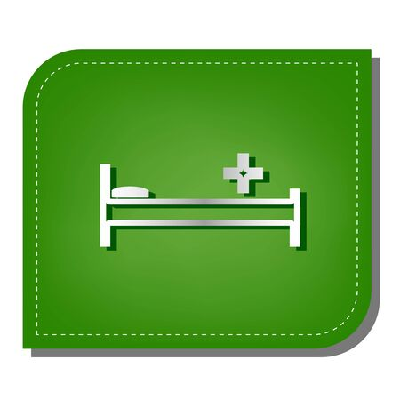 Hospital sign illustration. Silver gradient line icon with dark green shadow at ecological patched green leaf. Illusztráció