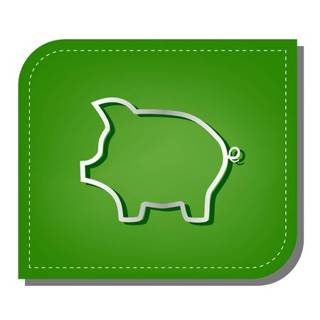 Pig money bank sign. Silver gradient line icon with dark green shadow at ecological patched green leaf. Illustration