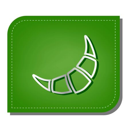 Croissant simple sign. Silver gradient line icon with dark green shadow at ecological patched green leaf.