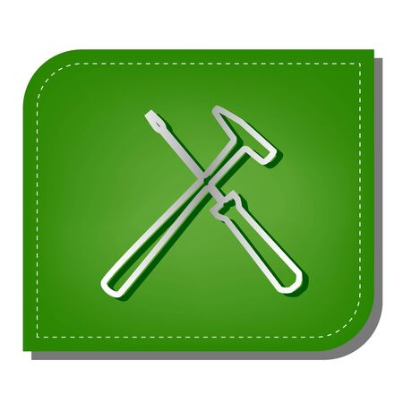 Tools sign illustration. Silver gradient line icon with dark green shadow at ecological patched green leaf.