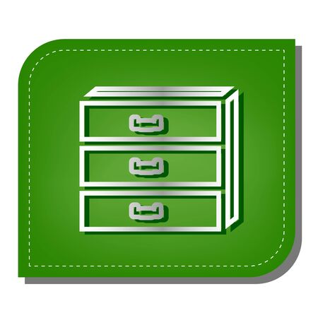 Nightstand sign. Silver gradient line icon with dark green shadow at ecological patched green leaf.